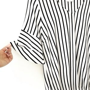 SKIES ARE BLUE white & black striped soft tee